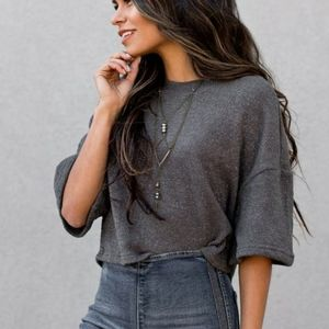 Joyfolie Dina Cropped Sweater In Gunmetal Gray XS